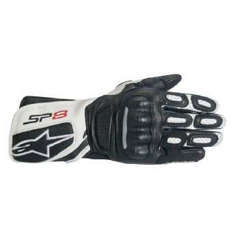 Alpinestars Stella SP-8 v2 Leather Black White Motorcycle Motorbike Glove